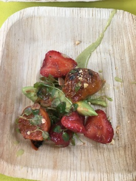 Franklin Becker: Strawberries, beats, avocado, herbs and nuts, charred serrano vinaigrette