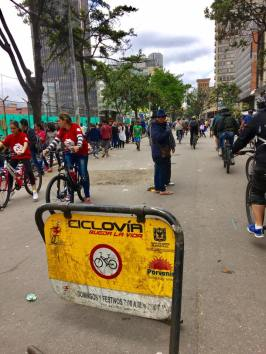 The well-used street sign for Ciclovia