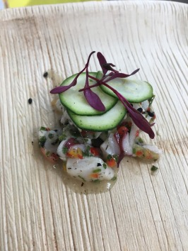 Josiah Citrin: Hokkaido scallop, geoduck, spot prawn, zucchini, Fresno chiles, endive, and mint