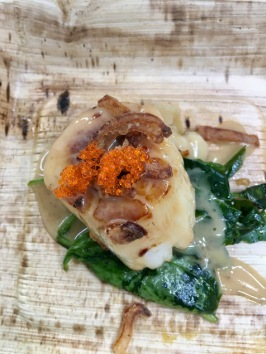 Gavin Fine: Seared sea scallop, ginger-soy butter, watercress, tobiko vinaigrette, fried shallots