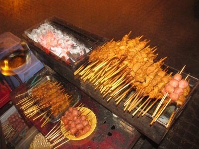 A variety of meat on a stick