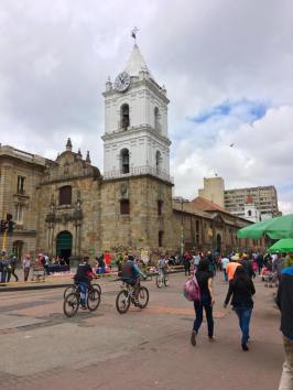 Pedestrians take advantage near the Plaza Bolivar