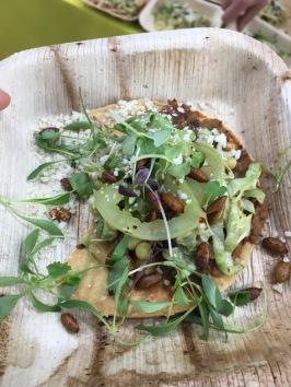 Justin Smillie: Refried beans, tostada, mushroom, lettuce, salsa verde