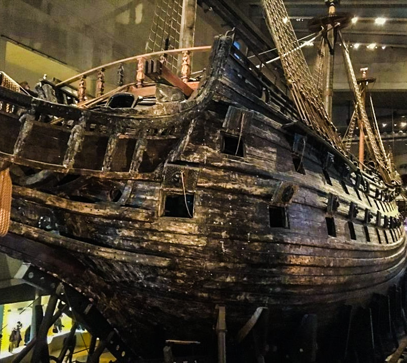 The Vasa. Missing parts were replaced with untreated wood so you could tell the difference